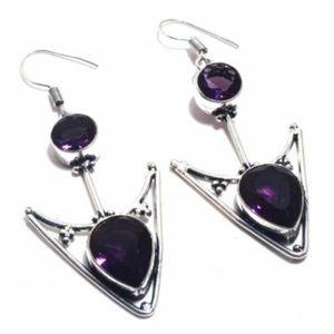 Amethyst & .925 Silver Earrings